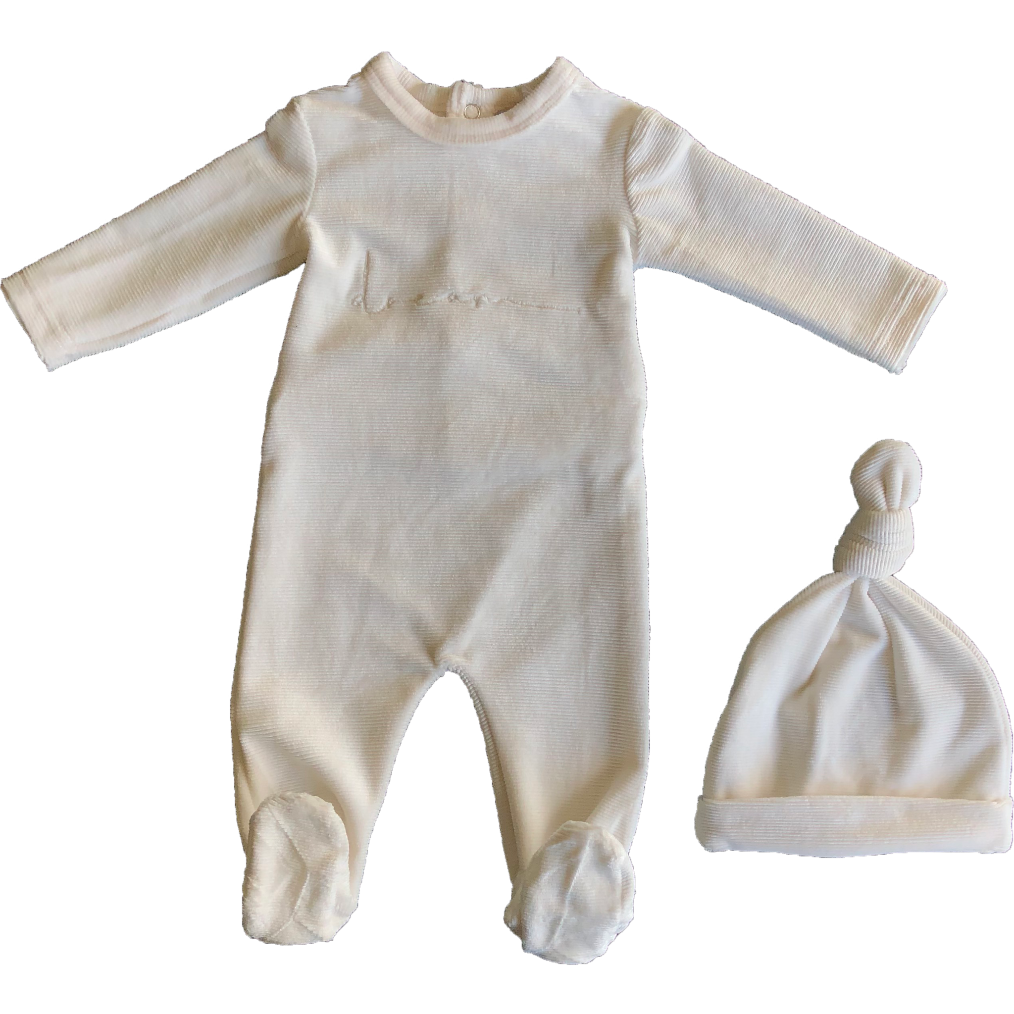 Kipp Baby Winter White Dream Rib Velour Footie