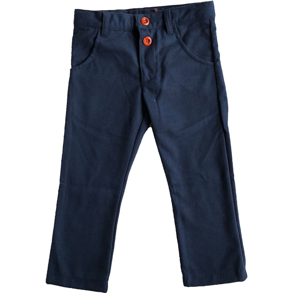 Kipp Blue Wool Slim Fit Pants