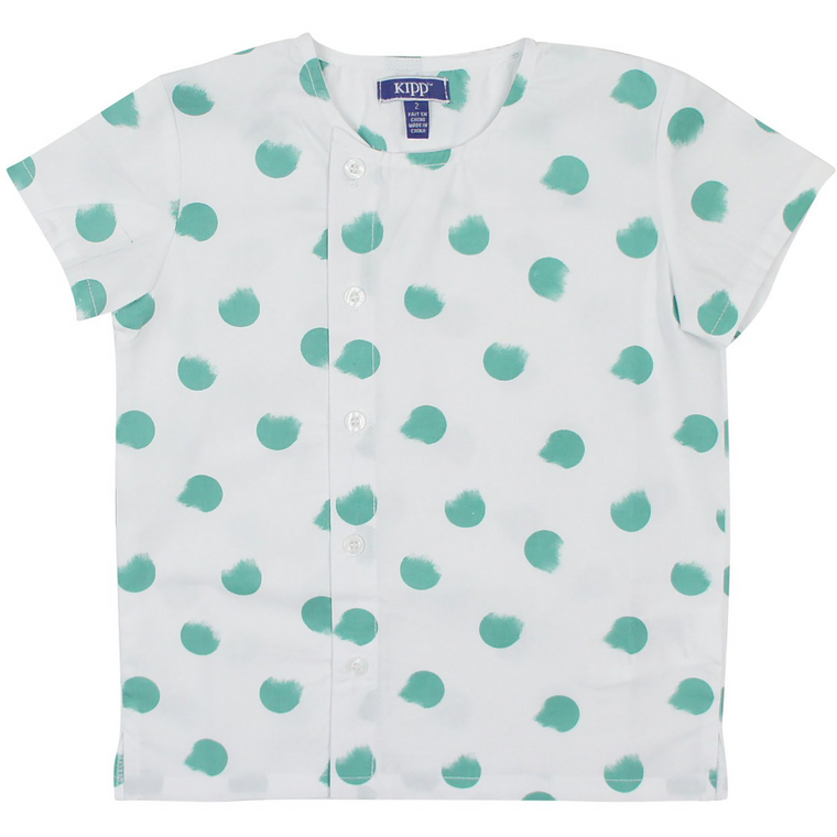Kipp Sage Smudge Dot Collarless Shirt