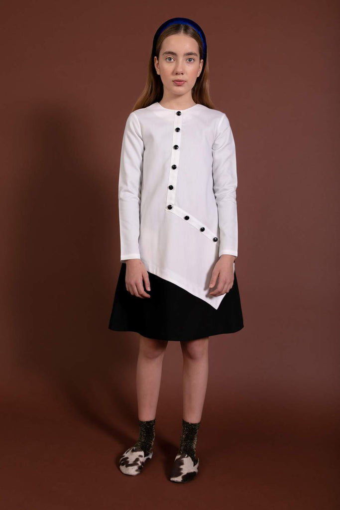 Kipp Button Placket Pleated Dress