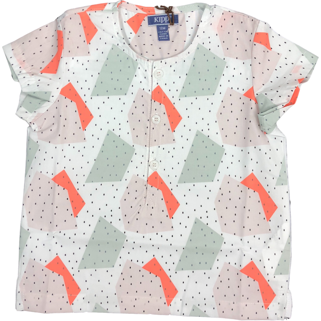 Kipp Speckled Geometric Collarless Shirt