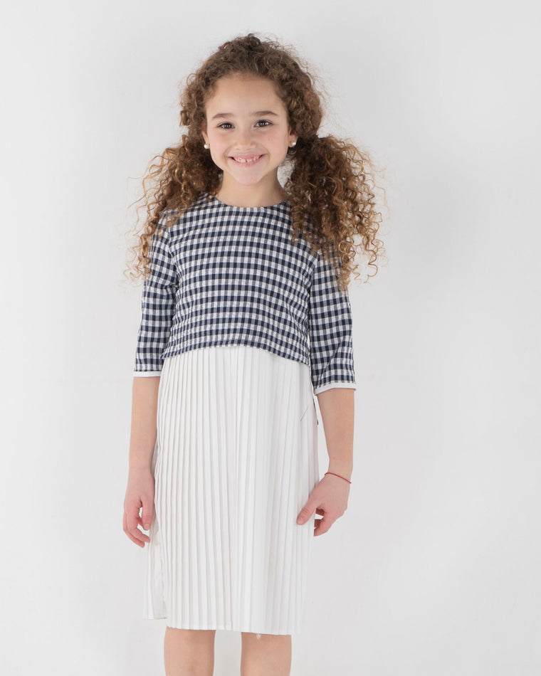 Three Bows Navy Gingham Pucker and Pleats Dress