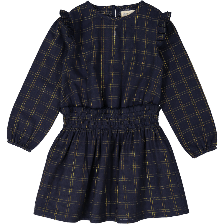 Louis Louise Uma Navy/Gold Checkered Dress