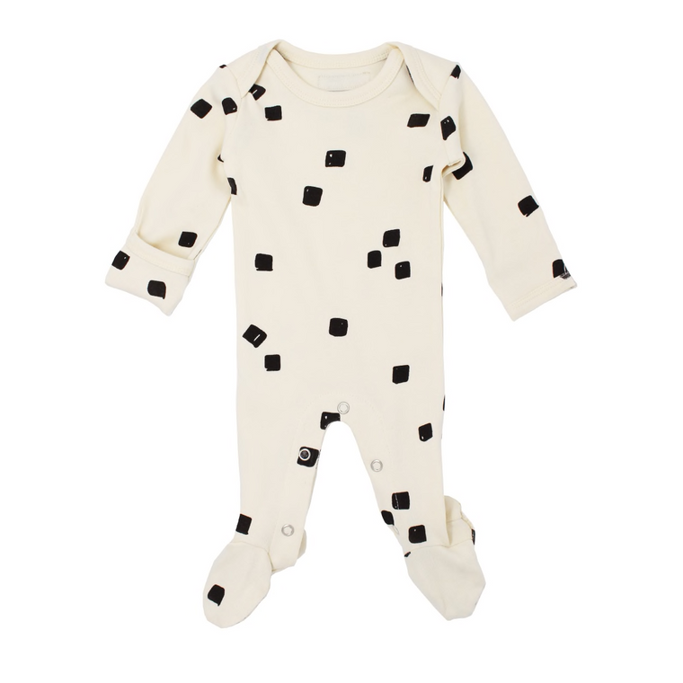 L'oved Baby Beige Stone Organic Lap-Shoulder Footed Overall