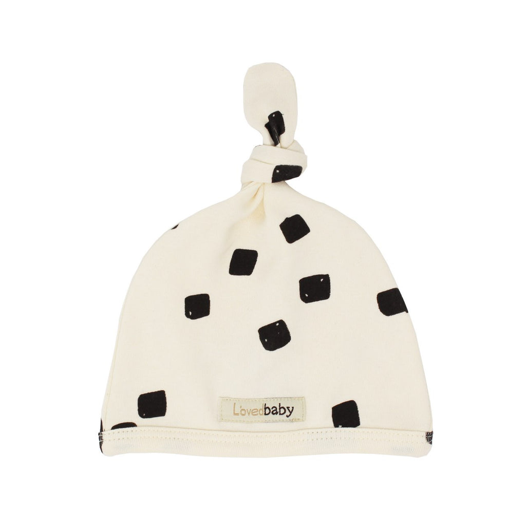 L'oved Baby Beige Stone Organic Top-Knot Bonnet