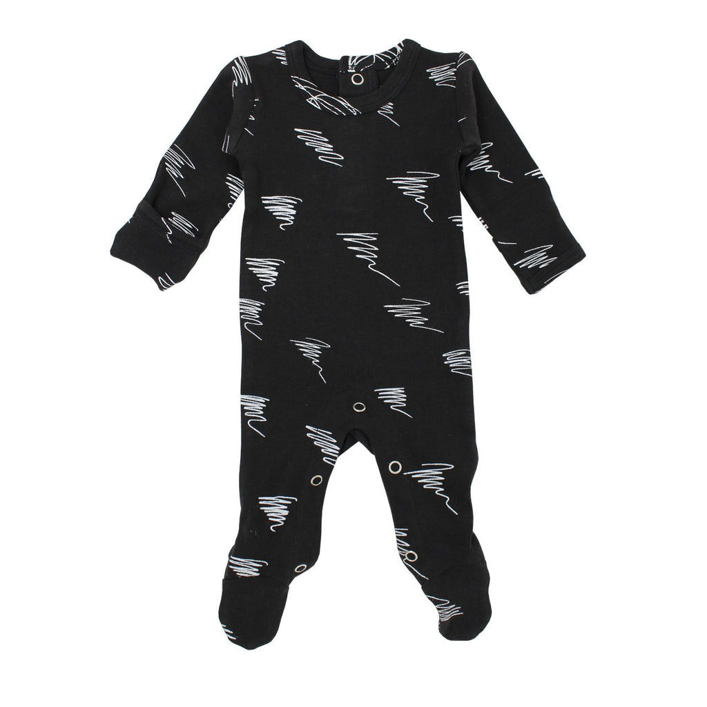 L'oved Baby Black Scribbles Organic Back-Snap Footie
