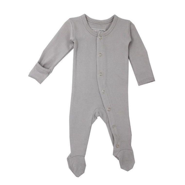 L'oved Baby Light Gray Organic Footed Overall