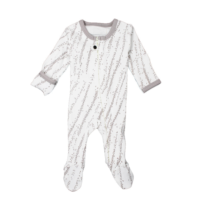 L'oved Baby Light Gray Willow Organic Zipper Footed Overall