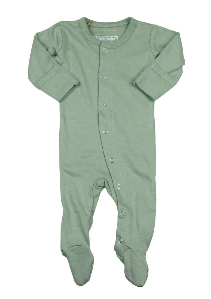L'oved Baby Seafoam Organic Footed Overall