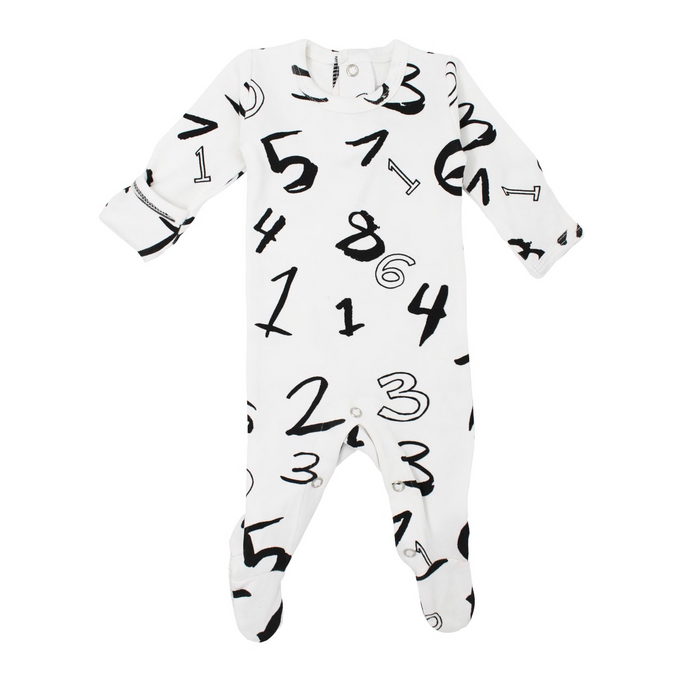 L'oved Baby White Numbers Organic Back-Snap Footie