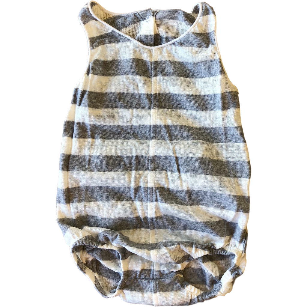 Latte Biscotti Grey/White Stripe Onesie