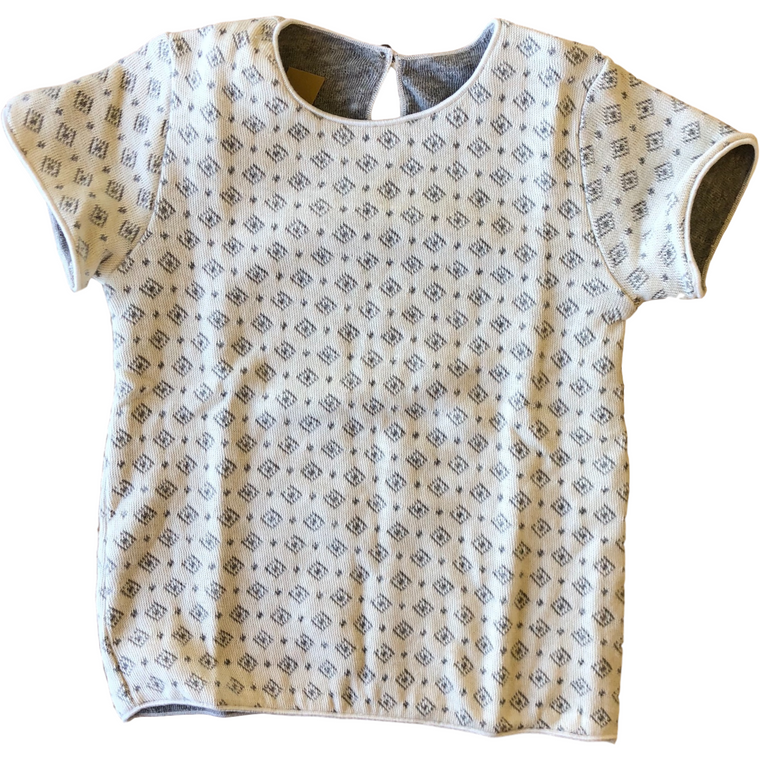 Latte Biscotti Cream/Grey Diamond Print Shirt