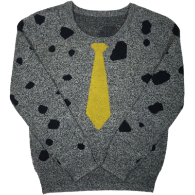 Little Cocoon Grey/Mustard Necktie Crewneck