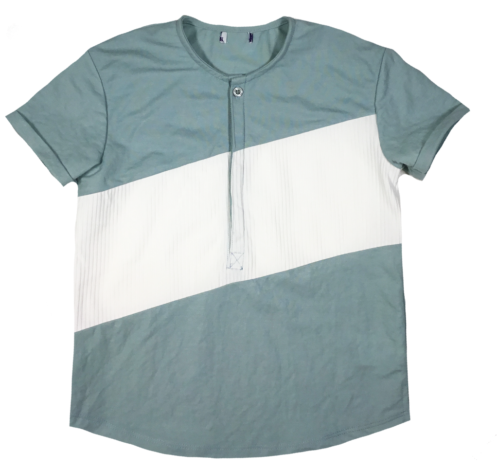 Little Cocoon Sage Diagonal Rib Panel Shirt