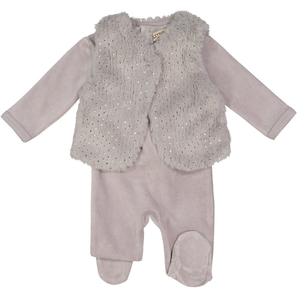 Little Paw Grey Furry Vest Footie