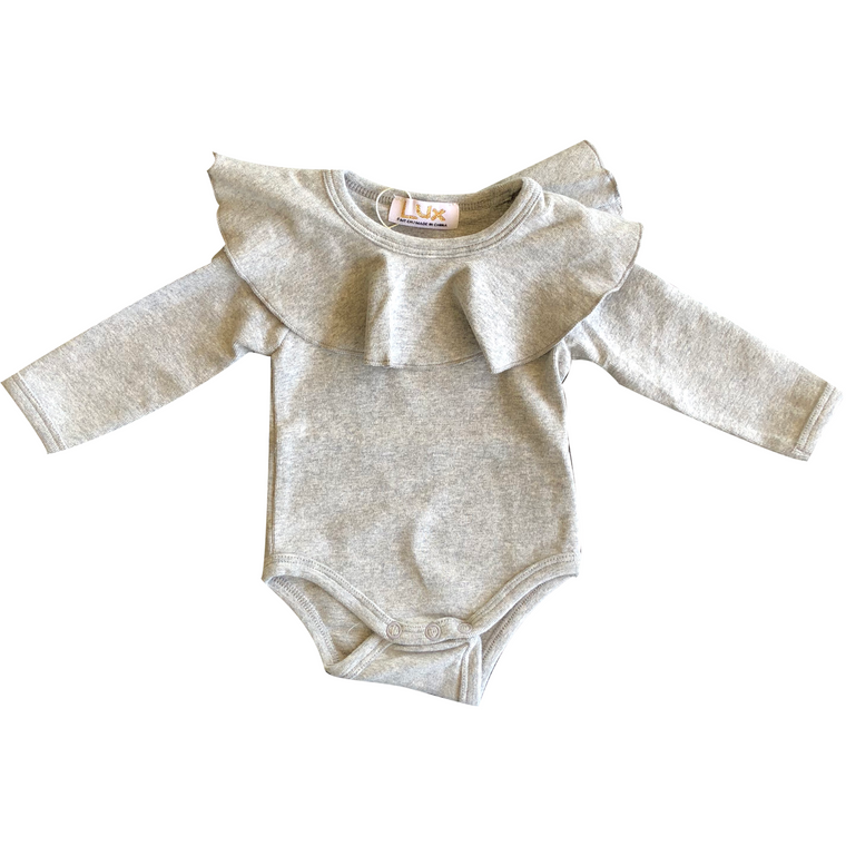 Lux Light Grey Collared Onesie