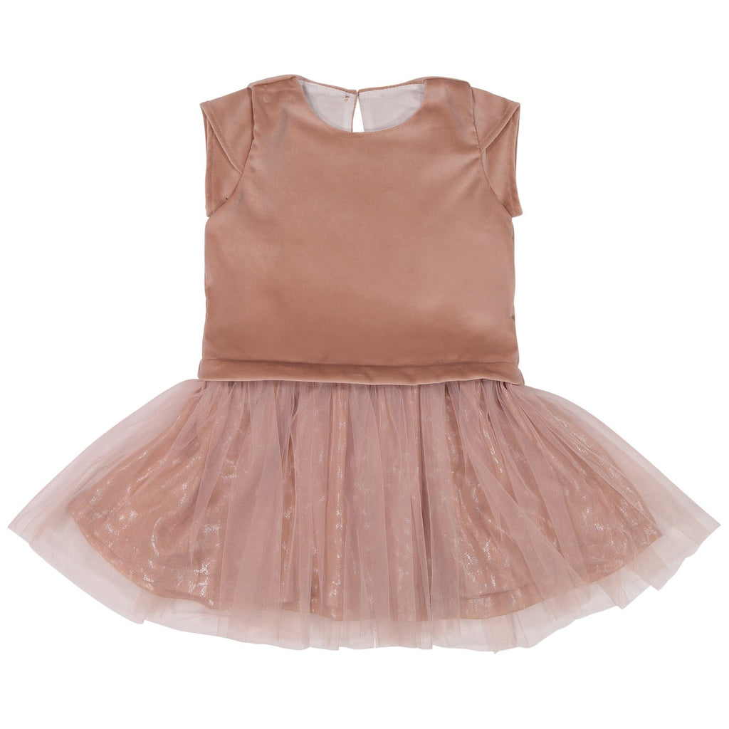 Mademoiselle A Soho Peach Velvet Duo Dress