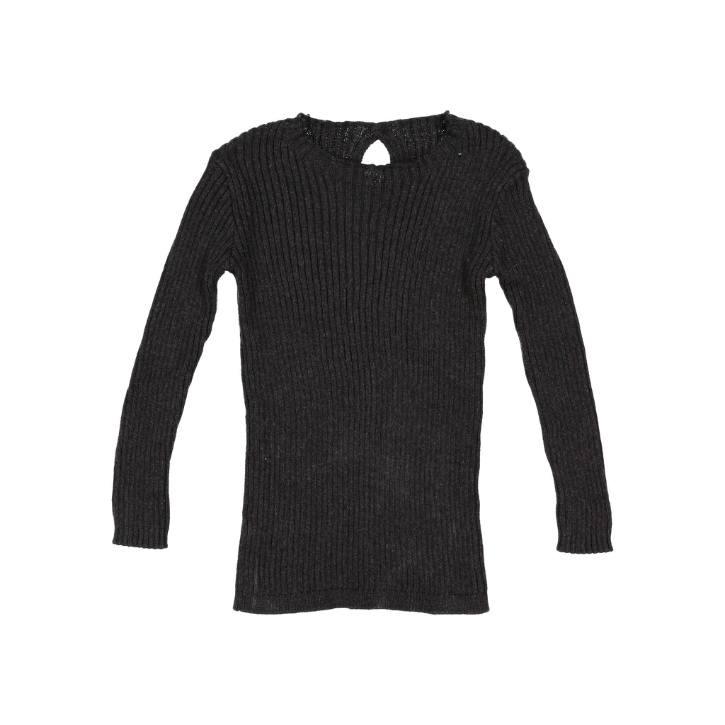 Analogie By Lil Leggs Marbled Black Rib Knit Sweater