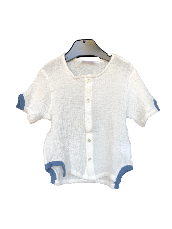 Milk White/Blue Shirt with Ribbed Edging
