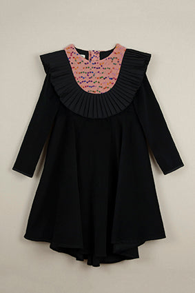 Popelin Black Pleated Frill Dress