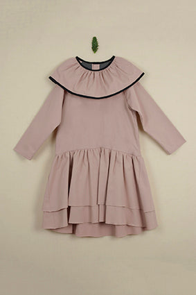 Popelin Pink Double Frill Collar Dress