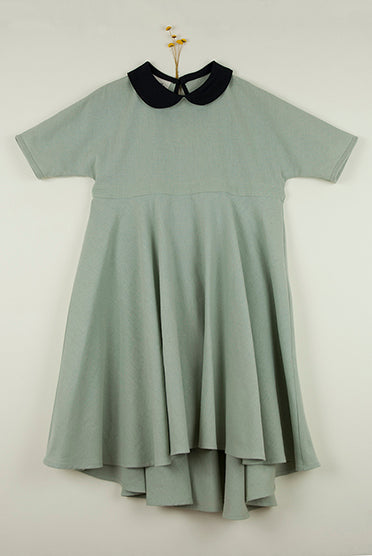 Popelin Green Cape-Style Dress