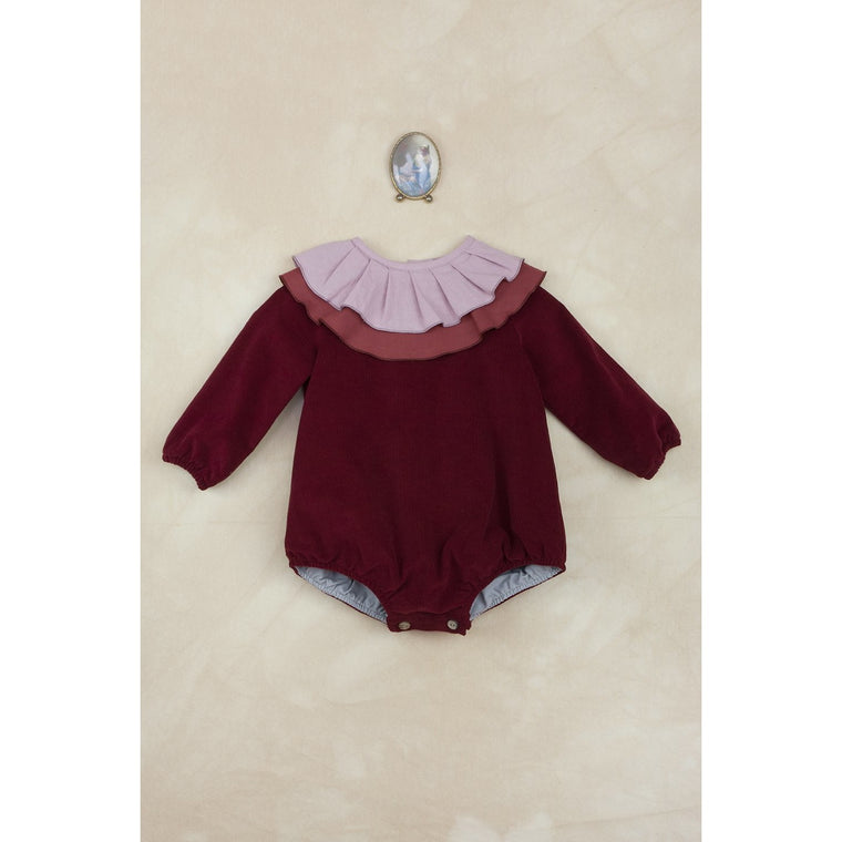 Popelin Burgundy Ruffled Romper