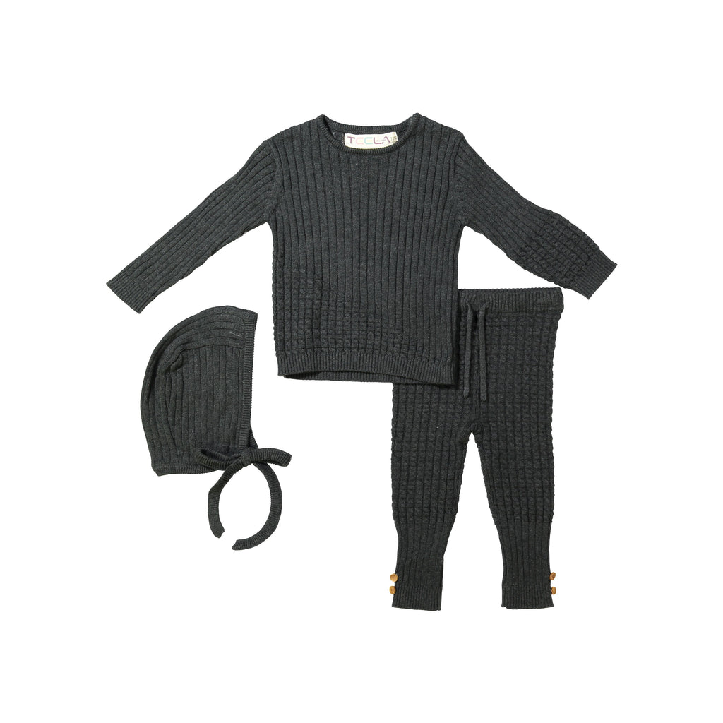 Teela Charcoal Cable Knit 3 Piece Baby Set