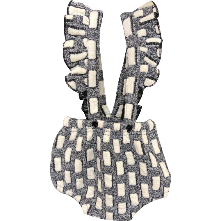 N° 18 Kids Black/Off White Ruffle Overall Romper