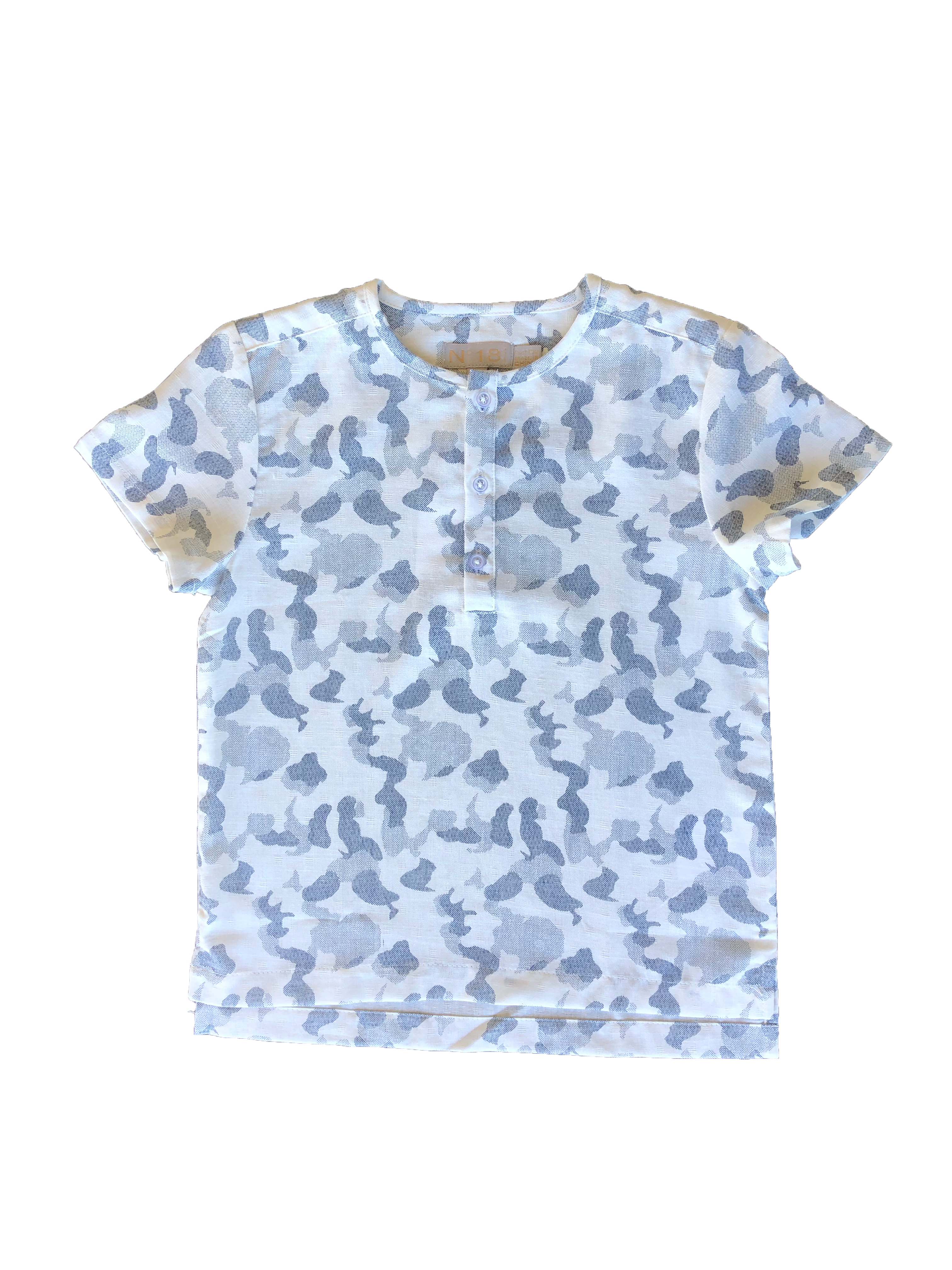 N° 18 White Navy/Gray Camo Print Shirt