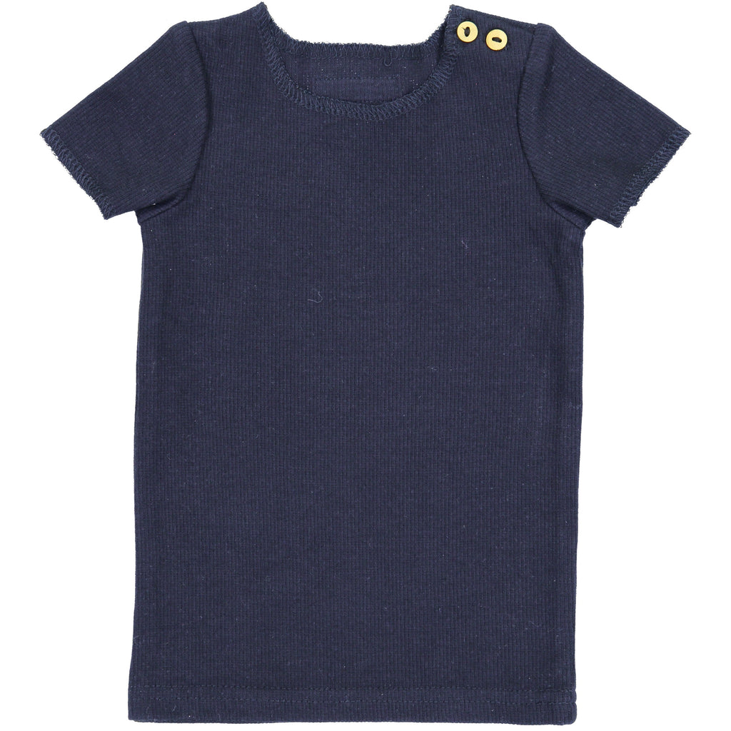 Lil Leggs Navy Ribbed Tee
