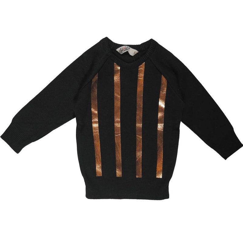 Nove Black/Gold Metalic Knit Crewneck