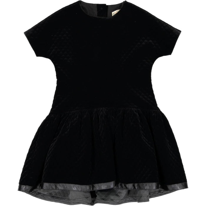 Nove Black Quilted Dress With 3/4 Sleeve