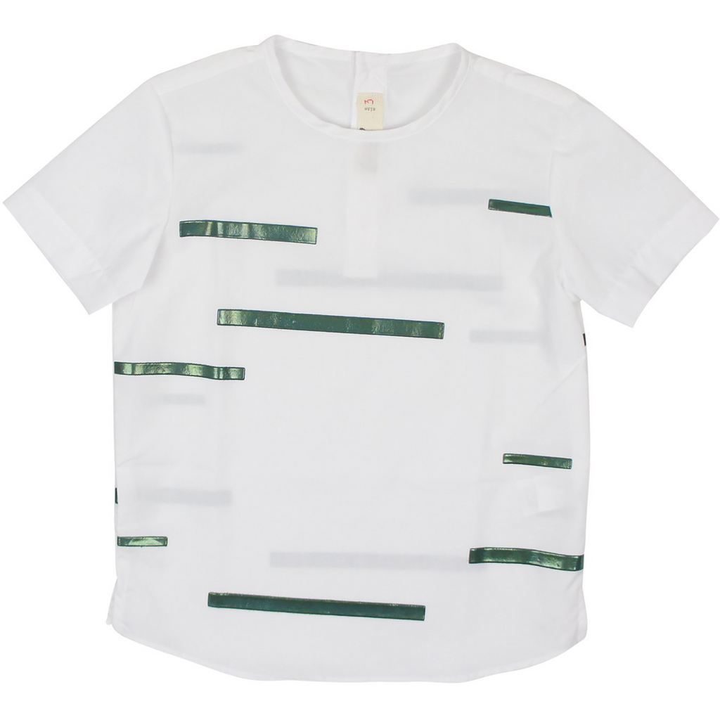 Nove White with Green Line Print Collarless Shirt