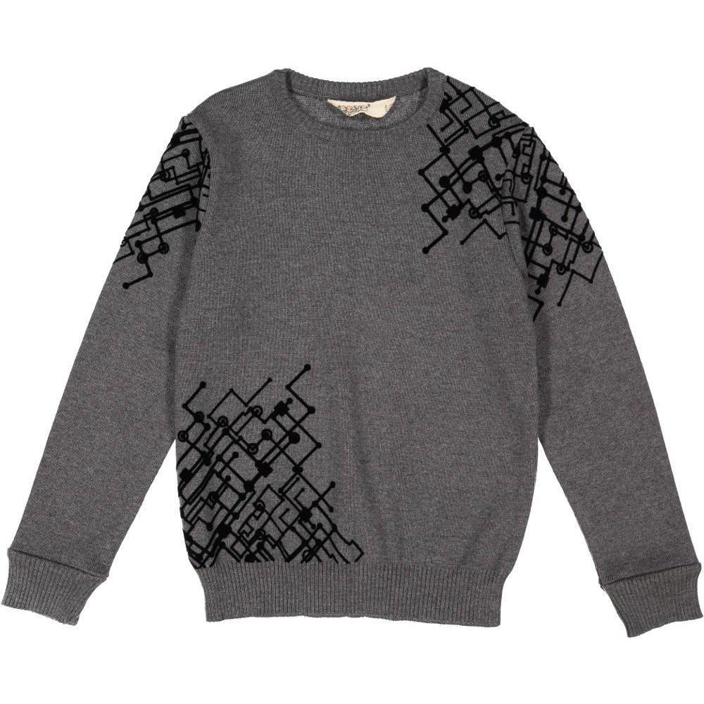 Nove Grey Crewneck With Black Velvet