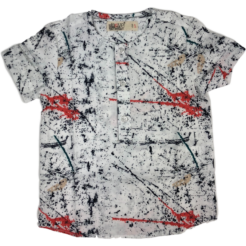 Nove Spotted White With Black/Wine/Coral Shirt