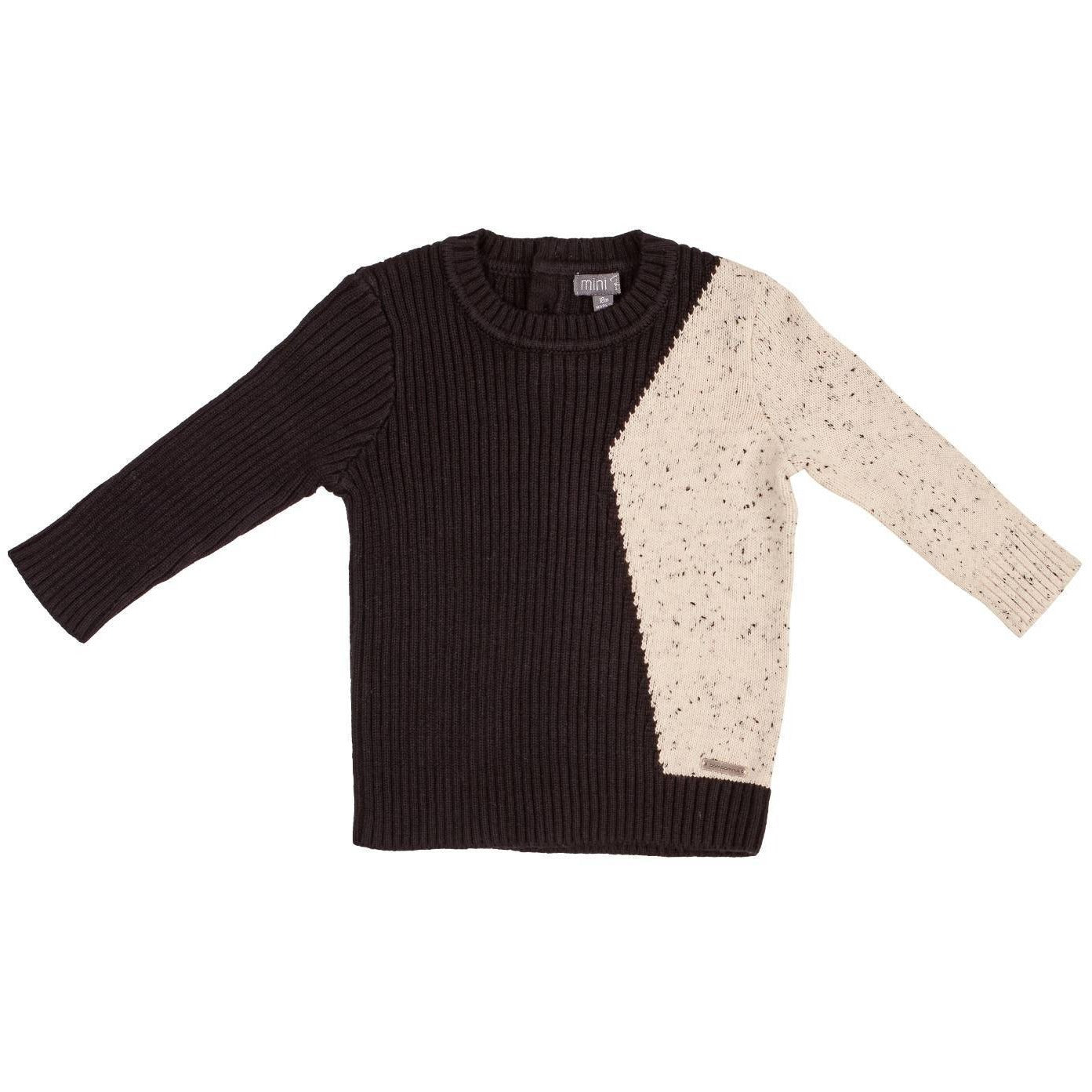 Pompomme Black/Off White Speckled Knit Sweater