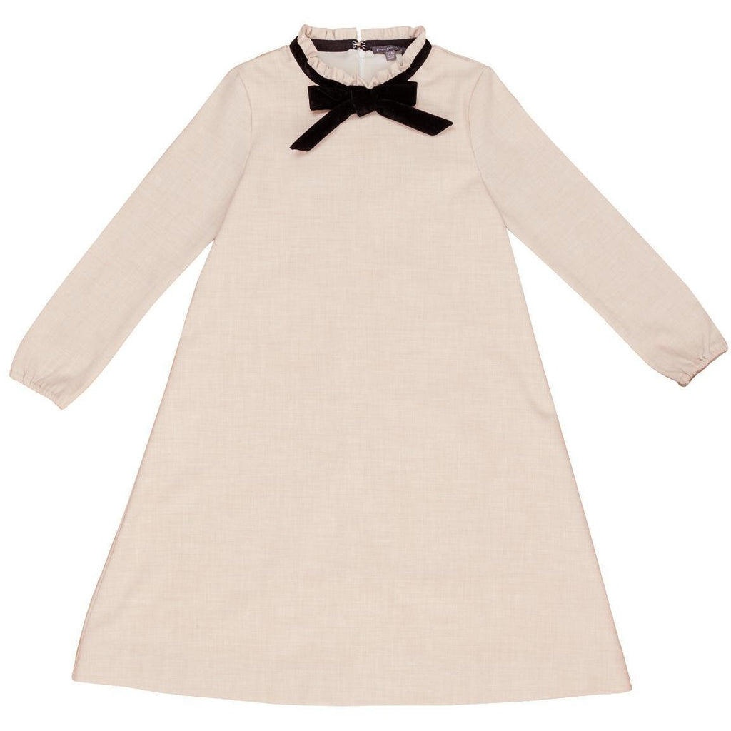 Pompomme Oatmeal Dress With Velvet Bow