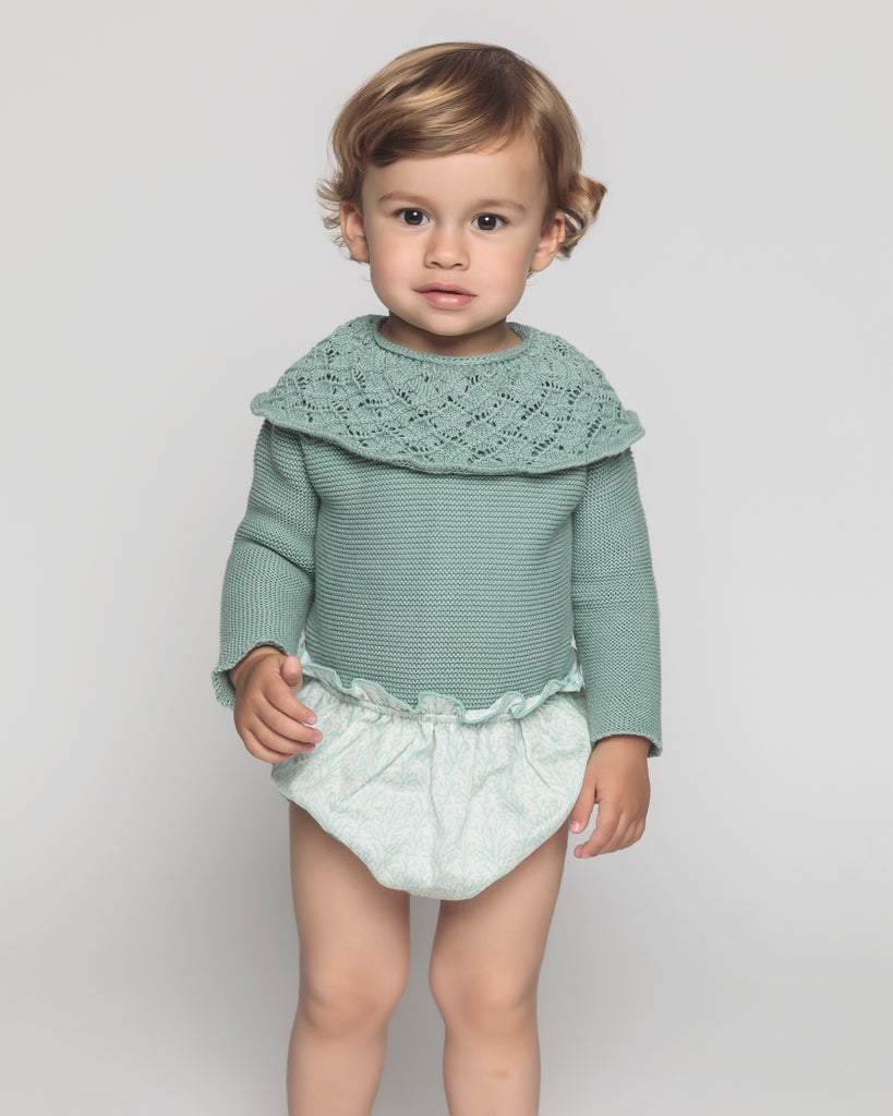 Nueces Knit Mint Collared Romper