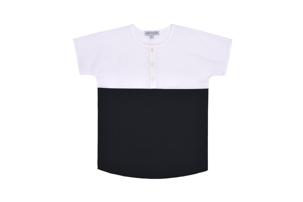 Petit Clair Black/White Mandarin Shirt