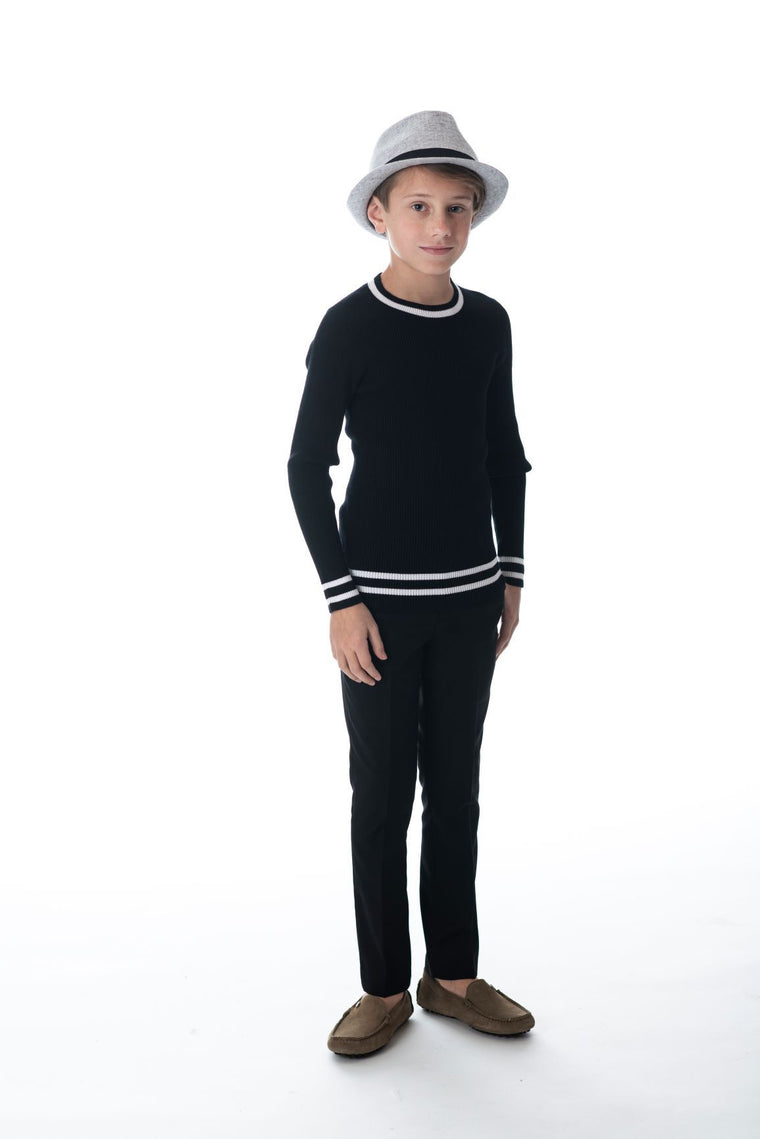 Petit Clair Black Ribbed Sweater
