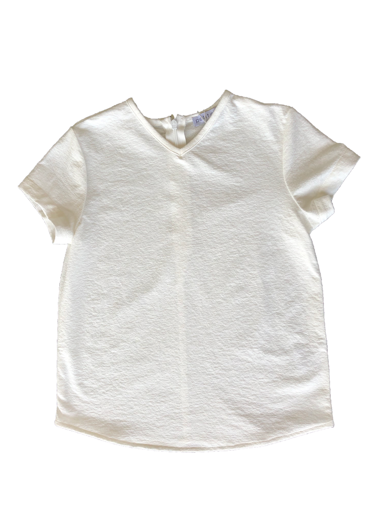 Petit Clair White Solid V-neck Shirt