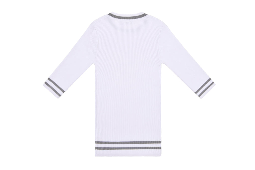 Petit Clair White Ribbed Sweater