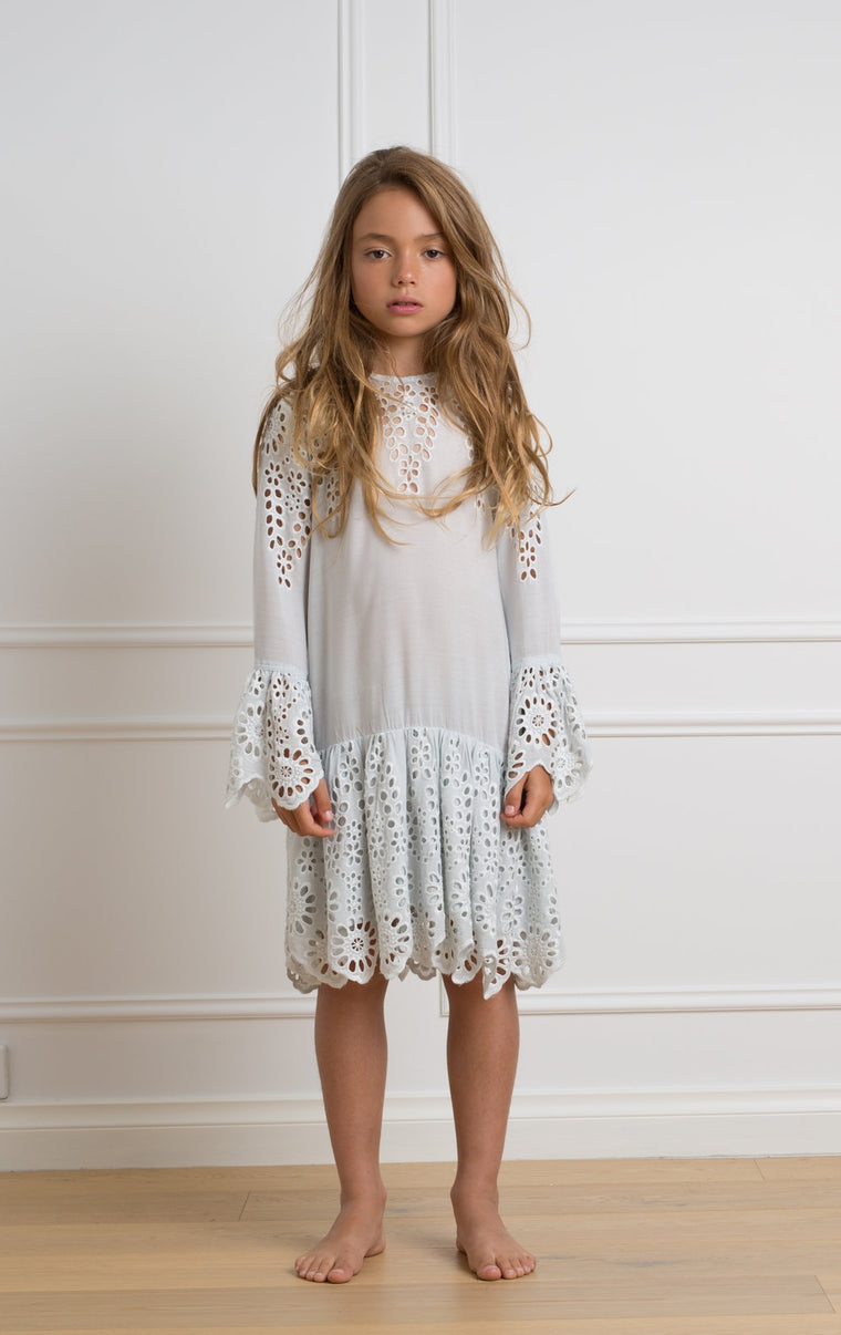 Petite Amalie Ice Blue Flower Embroidered Dress