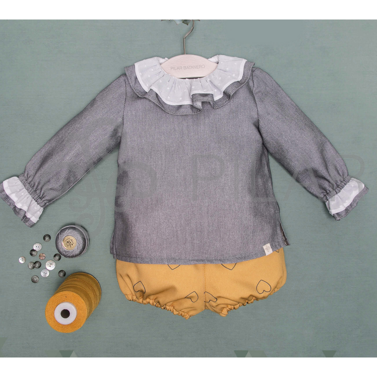 Pilar Batanero Grey Ruffled Blouse & Mustard Heart Bloomers Set