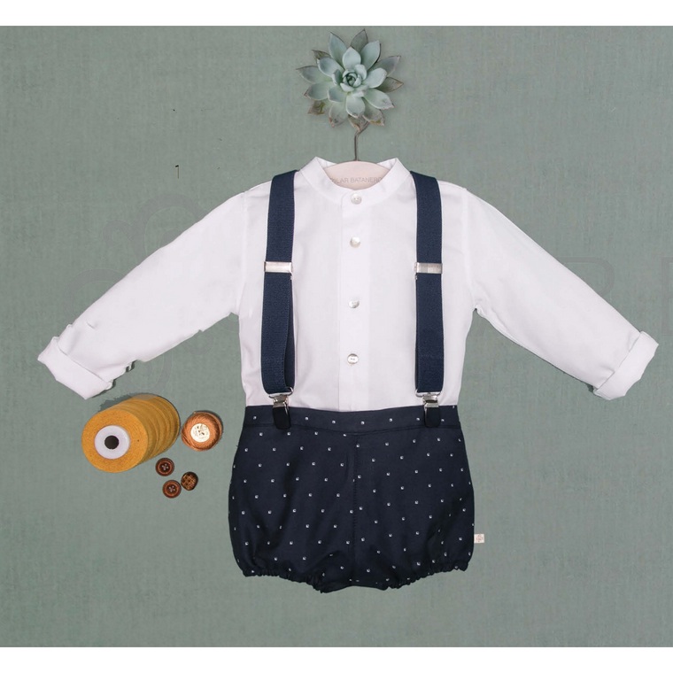 Pilar Batanero Navy Suspender Bloomer & White Shirt Set
