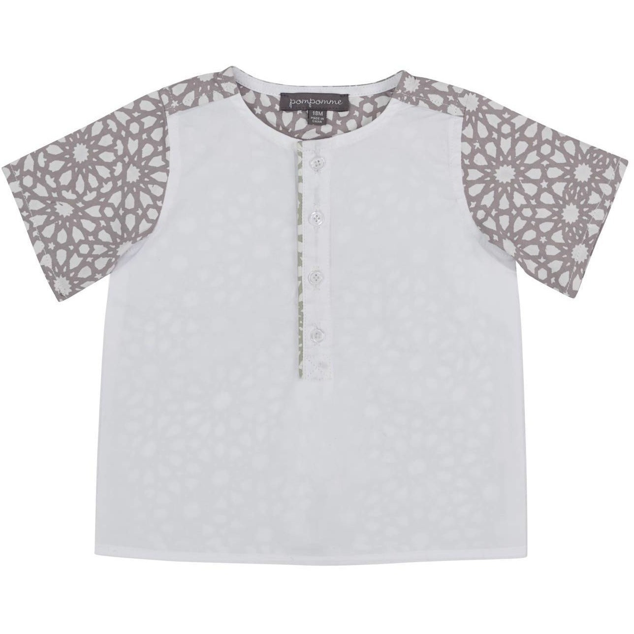 Pompomme White/Grey/Mint Print Shirt