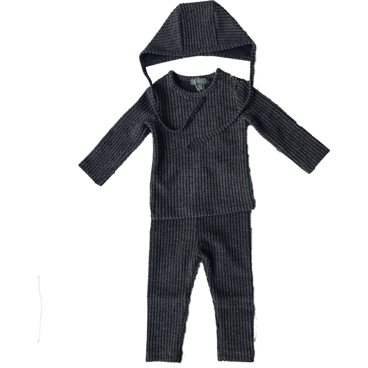 Pompomme Charcoal Ribbed Baby Set