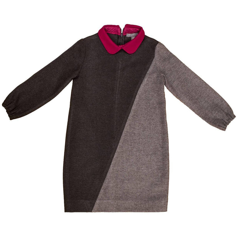Pompomme Colorblock Charcoal/Grey/Fuschia Dress