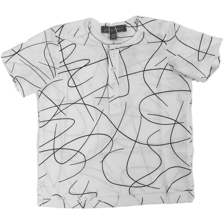 Pompomme White/Black Squiggly Shirt